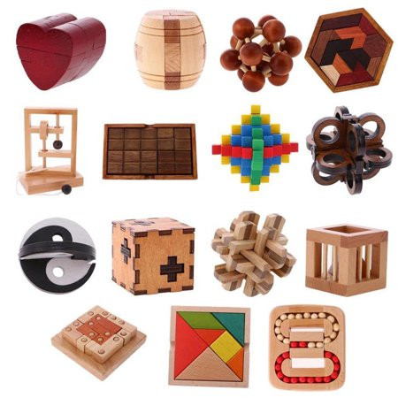 Directer Wooden Intelligence Toy Chinese Brain Teaser Game Toy 3D Puzzle for Kids Adults - Brain Teasers Riddles For Kids