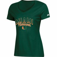 Women's Russell Athletic Green Miami Hurricanes Arch V-Neck T-Shirt