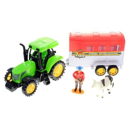 Play Farm (KidPlay Kids Friction Powered Farm Tractor Play Set Green Tractor Figurines )