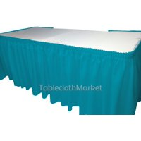 """POLYESTER PLEATED TABLE SET SKIRT skirting Catering Trade Show Dj set up kit"""", (Color: Gold - Size: 17' Table Skirt)"""