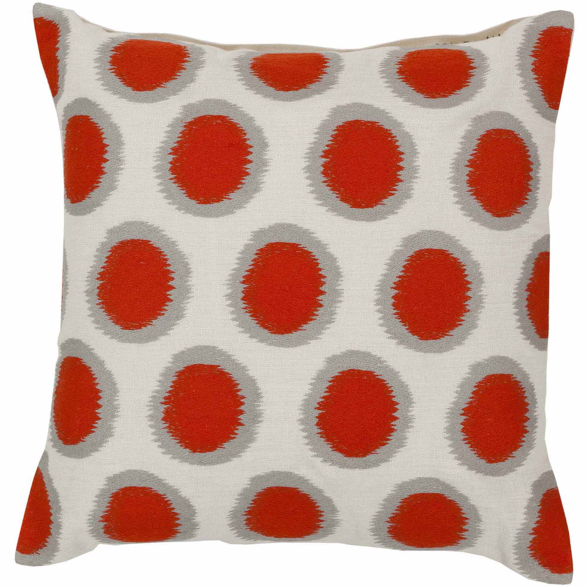 Art of Knot Amory Hand Crafted Satin Embroidery Circles Linen Decorative Pillow with Poly Filler, Poppy