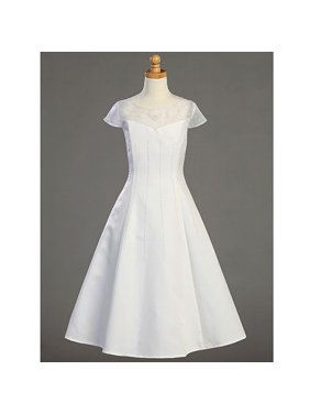 Plus Size Girl White Tea Length First Communion Dress 10.5
