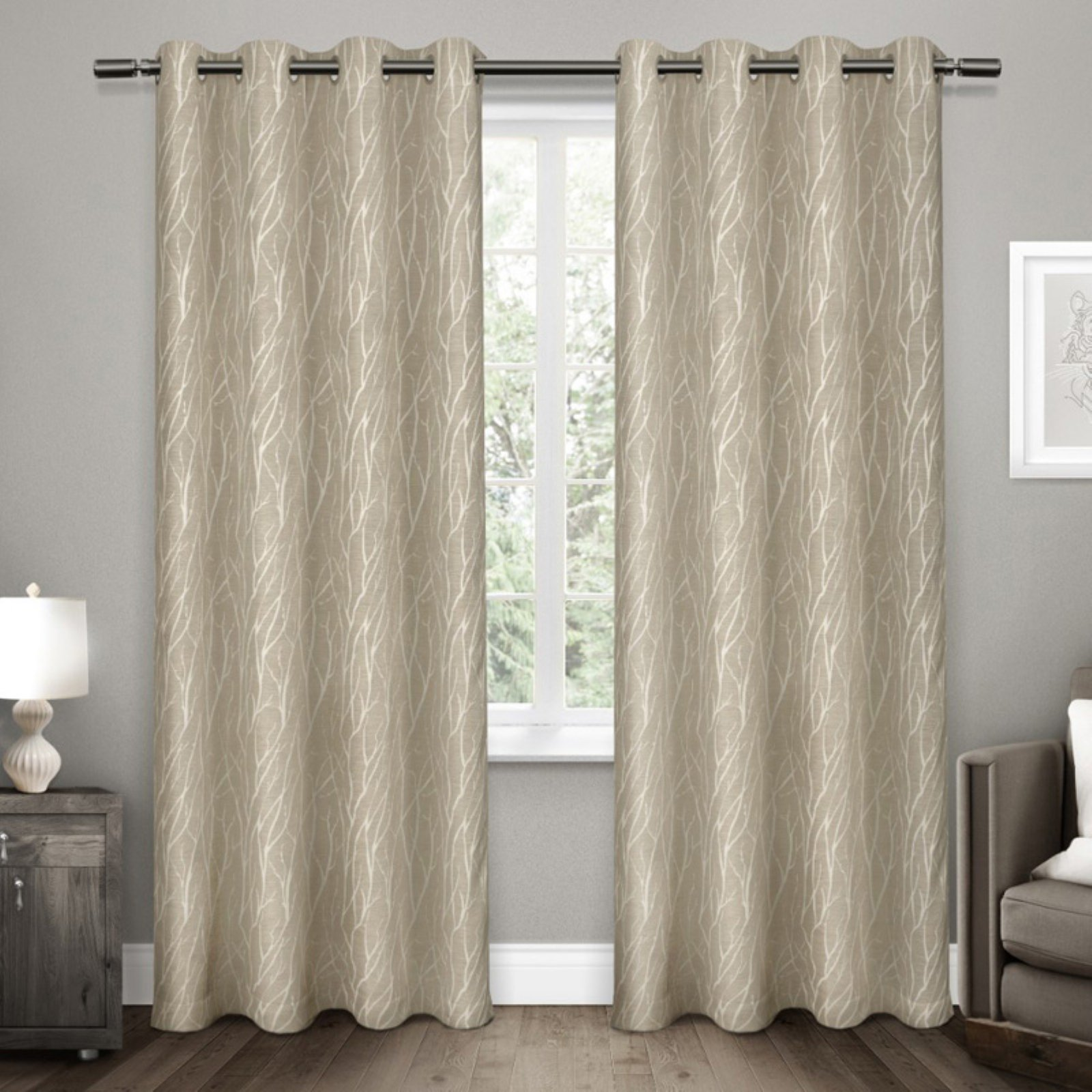 Forest Hill Woven Blackout Grommet Top Window Curtain Panel Pair