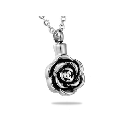 Lovely Rose Flower Cremation Jewelry Keepsake Memorial Urn Necklace Ash - Plastic Flower Necklace