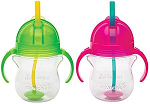 Munchkin Click Lock 7 Ounce Weighted Flexi-Straw Cup, 2 Pack, Green Pink by Munchkin
