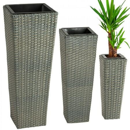3X Rattan Garden Tube Planter Vase Flower Pots Patio Furniture Garden - Antique Rattan Furniture Center