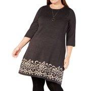 Women's Dress Plus Sweater Border-Hem 1X