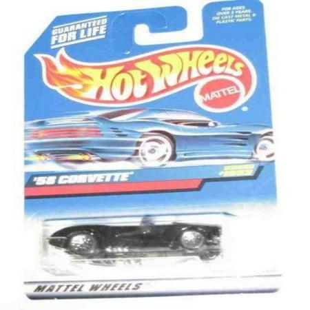 Hot Wheels #1092 BLACK '58 Corvette Lace Wheels 1:64