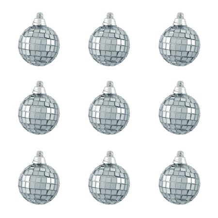 9ct Silver Splendor Mirrored Glass Disco Ball Christmas Ornaments 2.5