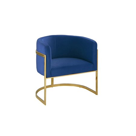 Modern Round Brush Microfiber Living Room Armchair with Gold Legs, Accent Chair (Navy) ()