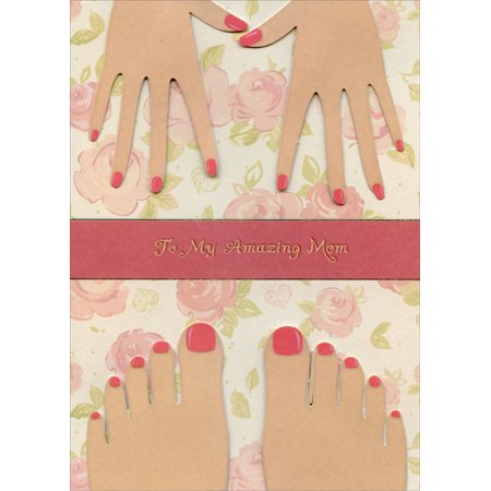 Designer Greetings Painted Nails Tip On Hands and Feet Handmade: Mom Designer Boutique Mother's Day Card Designer Hand Painted Boxes