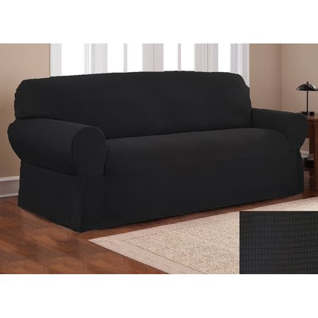 Fancy Linen Sure Fit Stretch Fabric Sofa Slipcover 2 Pc Solid Black New