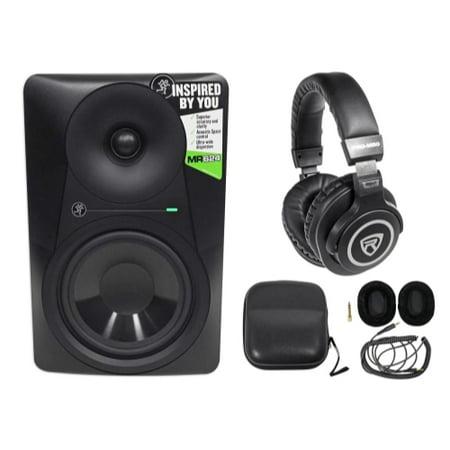 "Mackie MR624 6.5"" 65w Powered Studio Monitor Class A/B Bi-Amp Speaker+Headphones"