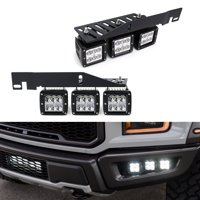 iJDMTOY Mega 144W Triple CREE LED Fog Lights w/Lower Bumper Area Mount Brackets & On/Off Switch Relay Wiring Kit For 2017-up Ford F150 Raptor