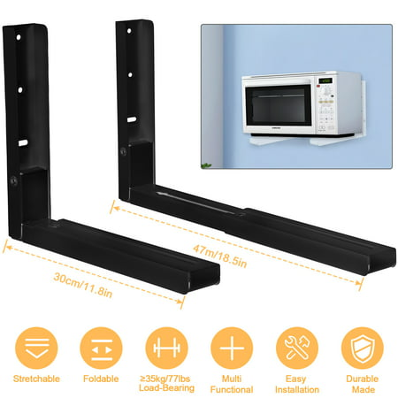 2 Pcs Microwave Brackets Adjustable Wall Mount Shelf Heavy Duty Carbon Steel Wall Microwave - Tracker Mounting Bracket