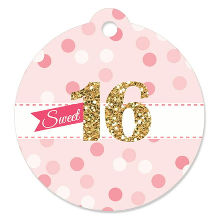 Sweet 16 - 16th Birthday Party Favor Tags (Set of - Sweet 16 Birthday Favors
