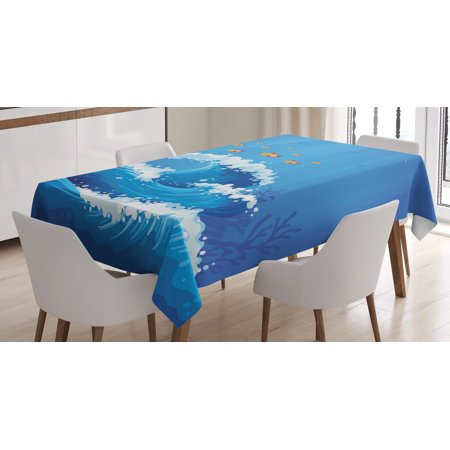 Marine Tablecloth  Underwater With Group Of Fish And Wave In The Ocean Coral Reef Illustration  Rectangular Table Cover For Dining Room Kitchen  52 X 70 Inches  Violet Blue Orange  By Ambesonne