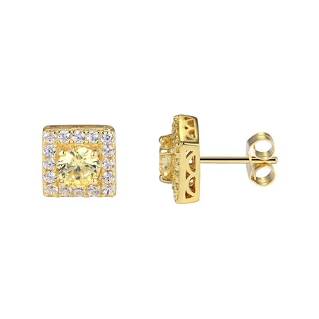 Master Of Bling - Sterling Silver Stud Earrings 14k Gold Finish Canary Lab  Created Cubic Zirconia Round Cut 9mm Men Women - Walmart.com ba4467ae60