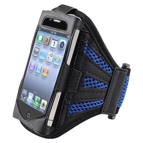 Insten Sports Workout Running Exercise Gym Armband Case For iPhone 4 4S 3GS / iPod touch 4th 3rd 2nd Gen Black/Dark Blue