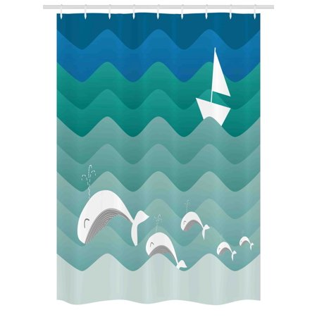Nautical Stall Shower Curtain, Nautical Theme with Paper Boat Sea Happy Dolphins Underwater Sea Animals, Fabric Bathroom Set with Hooks, 54W X 78L Inches, Blue Sea Green White, by Ambesonne - Nautical Themed Fabric