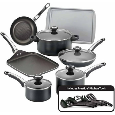 Farberware 17-Piece High Performance Nonstick Aluminum Pots and Pans Set/Cookware Set, Black