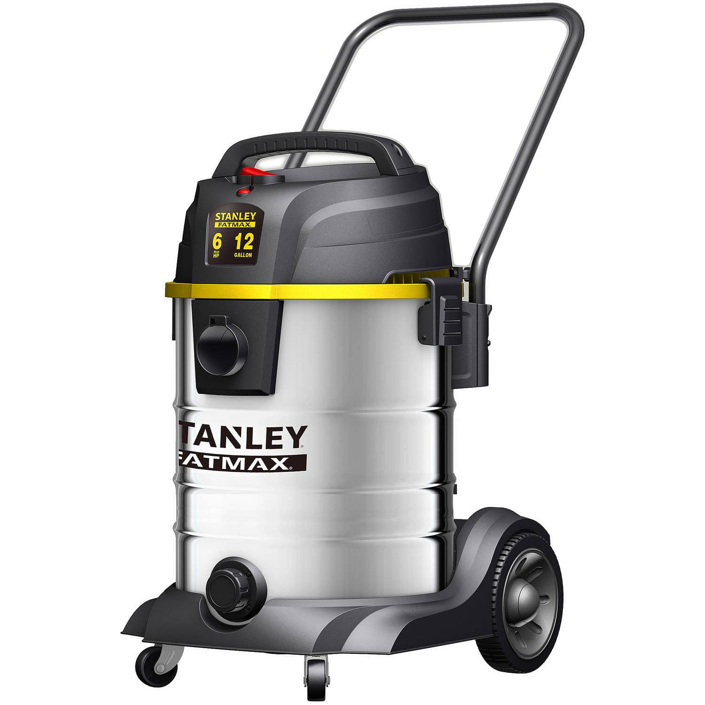 Stanley Wet/Dry Vacuum, 6 peak HP, 12 gal, Stainless Steel, SL18501-12B