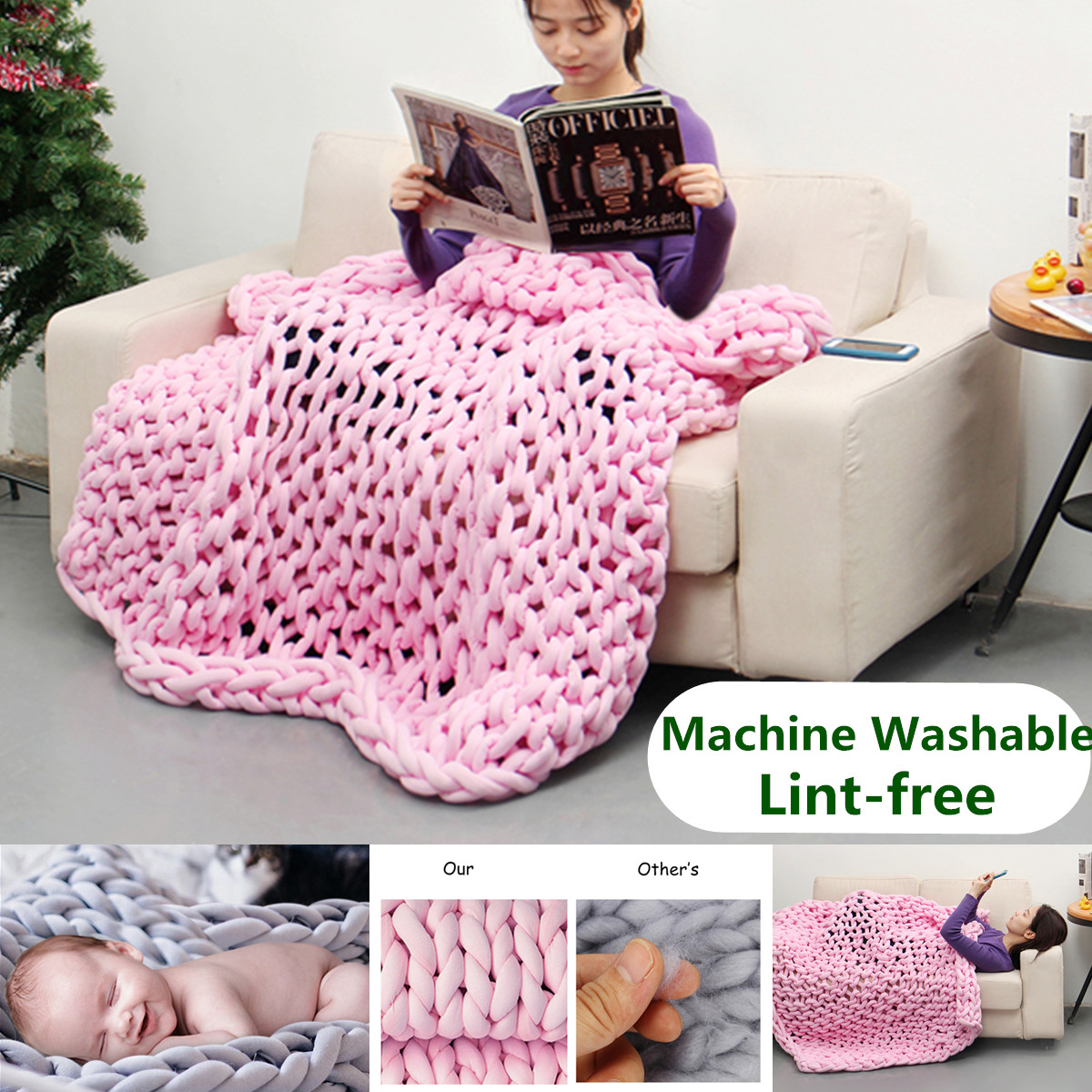 Hand-woven Cotton Soft Chunky Knitted Bedding Blanket Bulky Thick Yarn Sofa Throw Rug - Machine Washable Lint-free - 3 Sizes