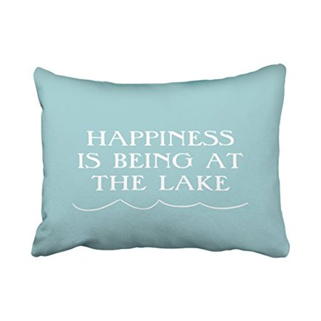 WinHome Rectangle Throw Pillow Covers Vintage Happiness At The Lake Pillowcases Polyester 20 x 30 Inch With Hidden Zipper Home Sofa Cushion Decorative Pillowcase ()