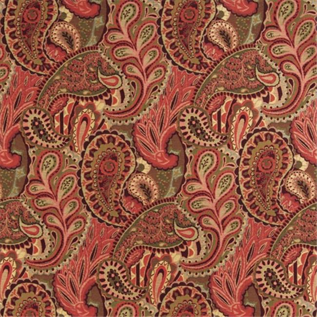 Designer Fabrics K0024B 54 in. Wide Burgundy, Green And Red, Abstract Paisley Contemporary Upholstery Fabric