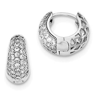 Lex & Lu Sterling Silver w/Rhodium CZ Hinged Hoop Earrings LAL109681