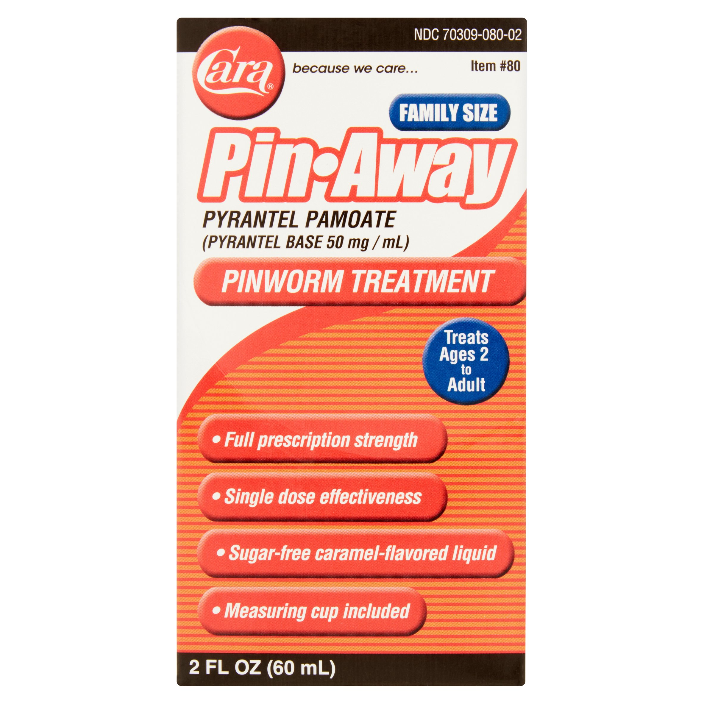 Cara Pin-Away Pyrantel Pamoate Pinworm Treatment, 2 fl oz