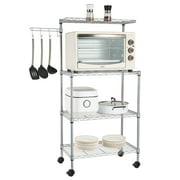 US 4 Tier Kitchen Bakers Rack Microwave Oven Stand Storage Cart Workstation Shelf