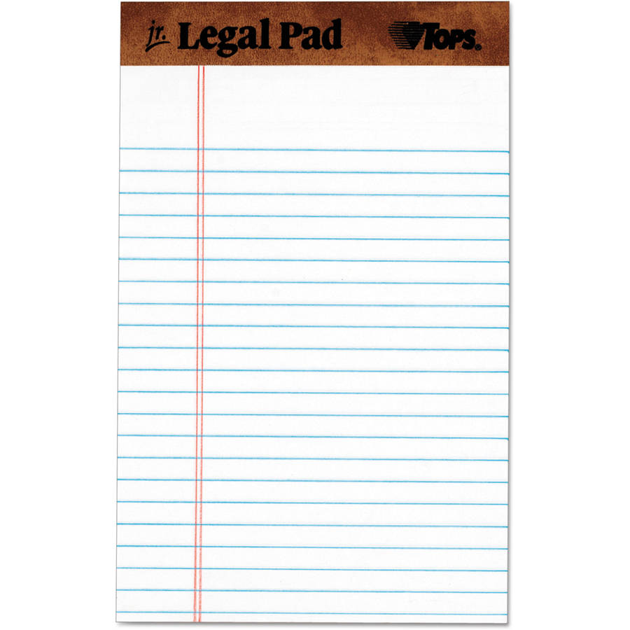 "TOPS The Legal Pad Ruled Perforated Pads, 5"" x 8"", White, 50 Sheet Pads, 1 Dozen"