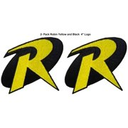 """Superheroes DC Comics  Robin Logo 4"""" (2-Pack) Embroidered Iron/Sew-on Applique Patches"""