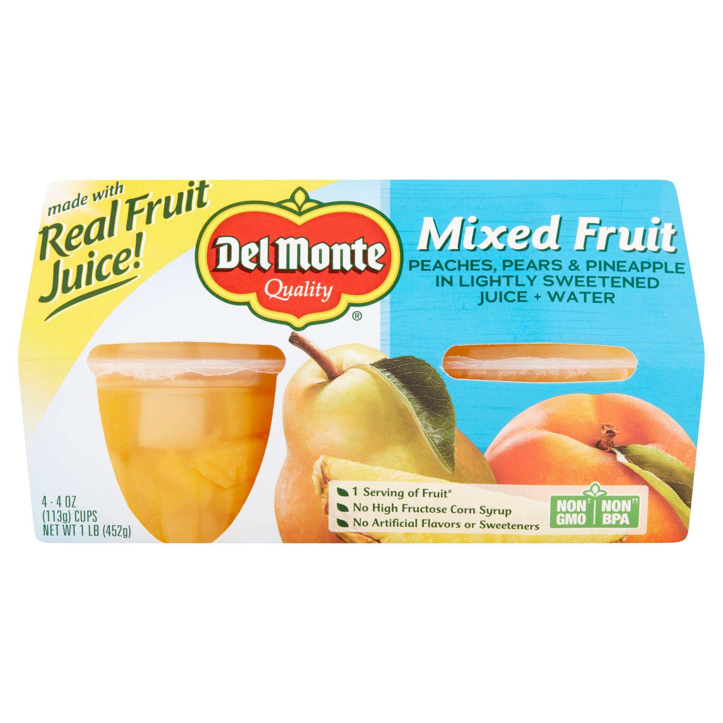 Del Monte Mixed Fruit Peaches, Pears & Pineapple in Light Syrup, 4 oz, 4 count by Del Monte Foods