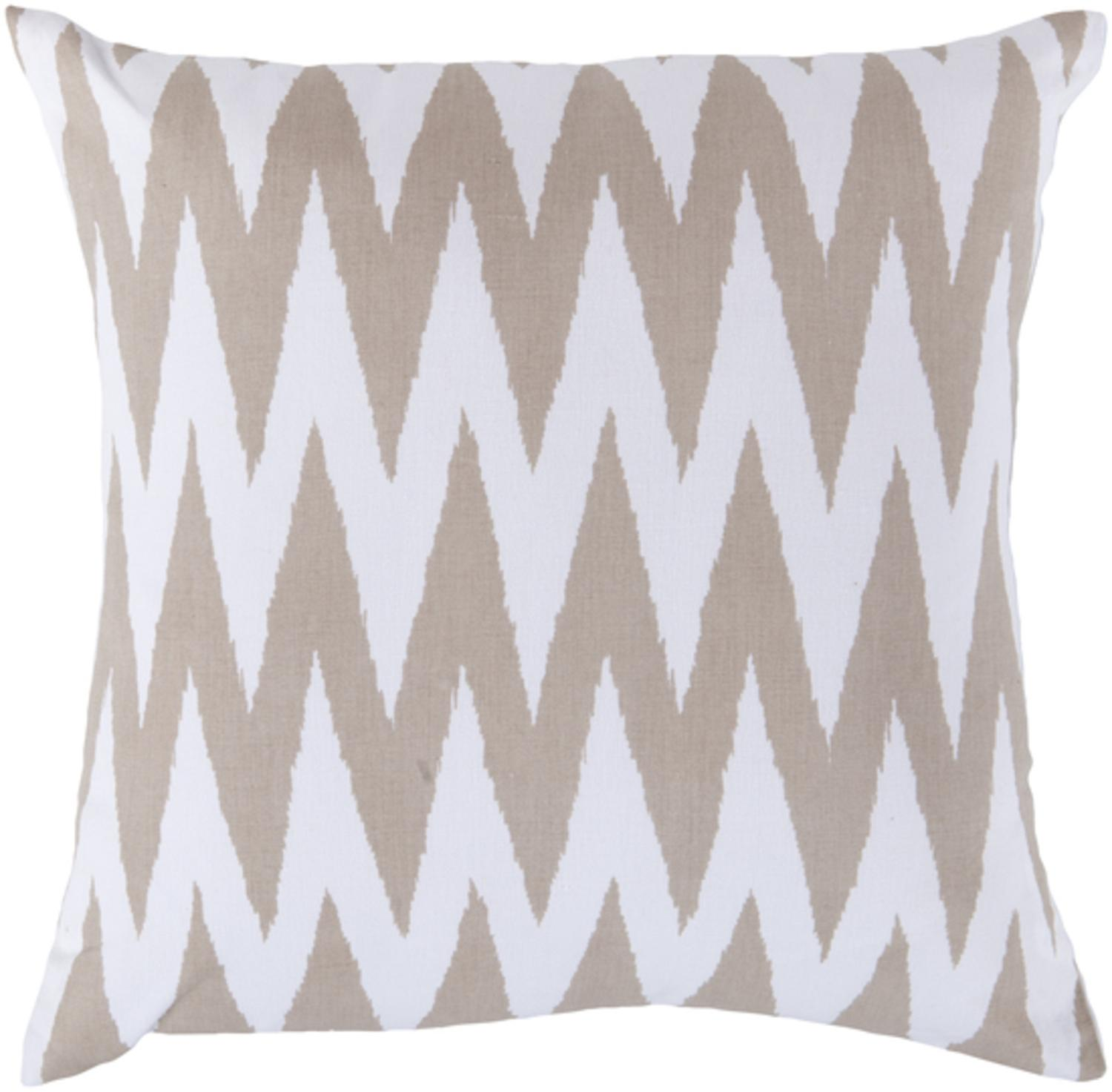 "22"" Multiplicity White and Taupe Decorative Throw Pillow"