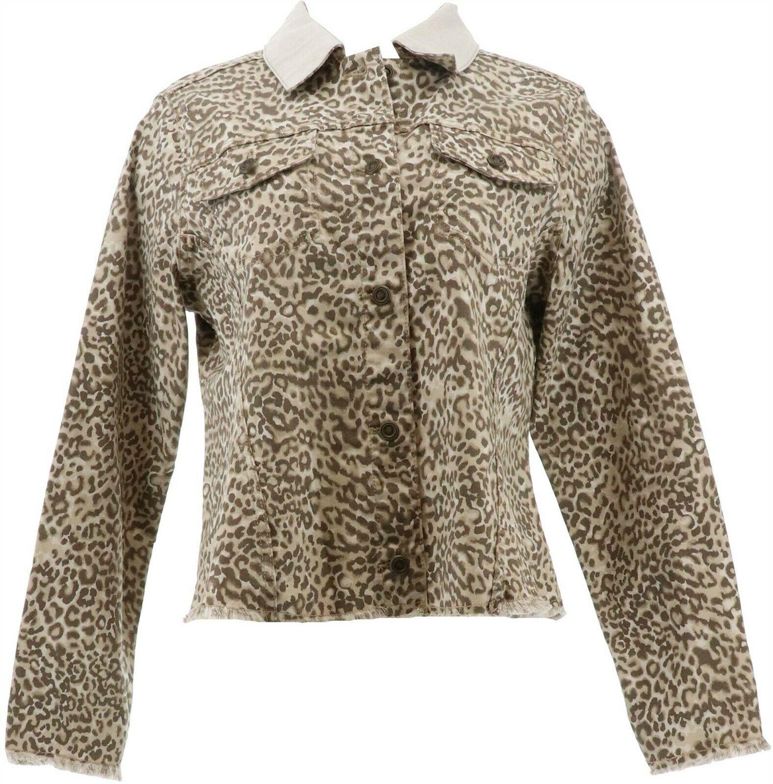 DG2 Diane Gilman Reversible Twill Denim Jacket Khaki 1X NEW 712-767