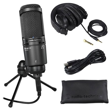 Audio Technica AT2020USB+PLUS USB Recording Mic+Stand+Case+ATH-M30x