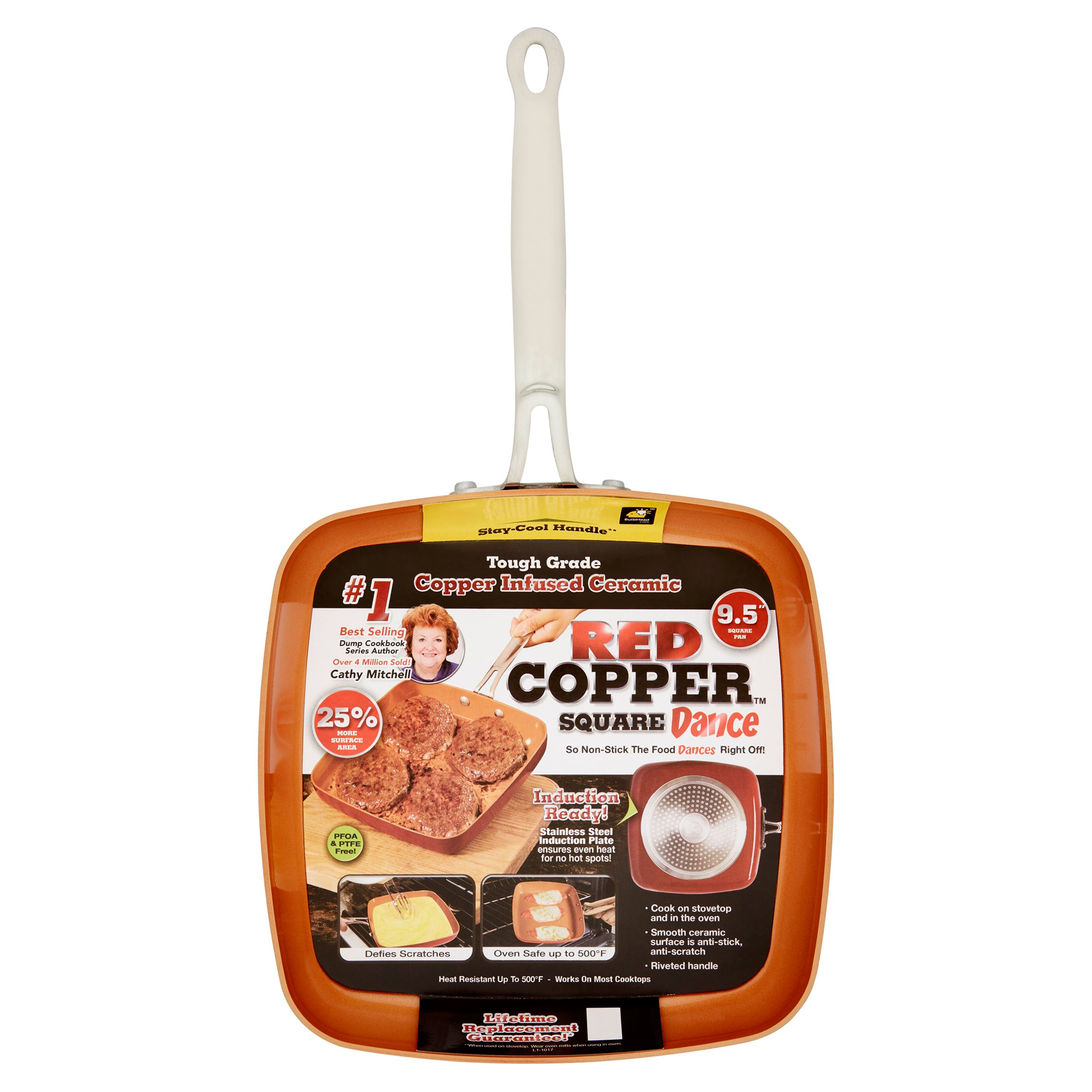 """As Seen On Tv Red Copper Square Dance 9.5"""" Non-Stick Square Pan"""
