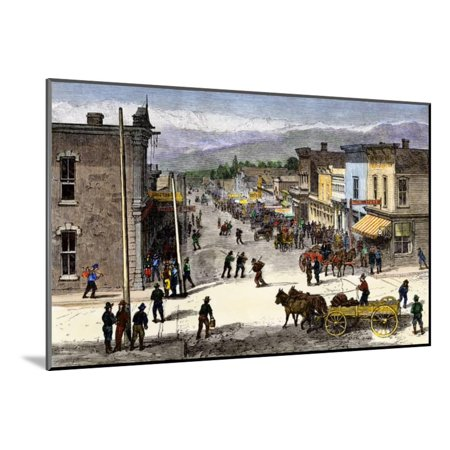 Chestnut Street in Leadville, Colorado, During the Mining Boom, 1870s Wood Mounted Print Wall Art