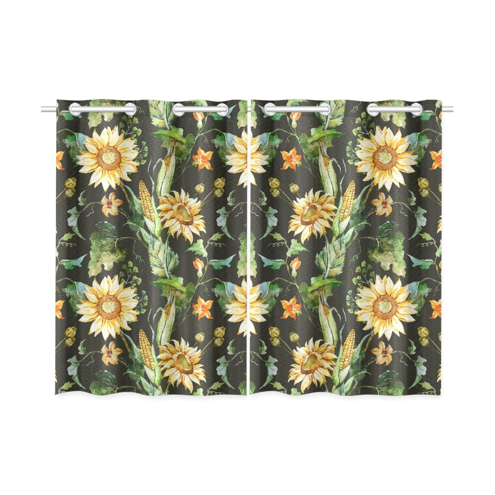MKHERT Beautiful Nice Sunflowers Window Curtains Kitchen