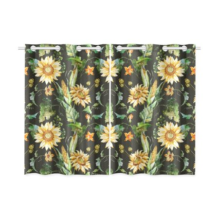 MKHERT Beautiful Nice Sunflowers Window Curtains Kitchen Curtain Room Bedroom Drapes Curtains 26x39 inch, 2 Piece