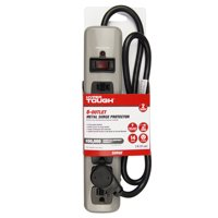Hyper Tough 6 Outlet 3ft Metal Surge Gray