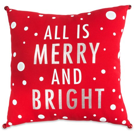 Pavilion - All is Merry and Bright Polka Dot Patterned Bell Decorative Christmas Holiday Pillow ()