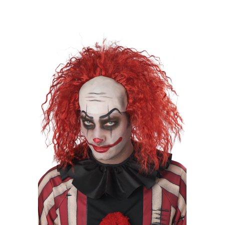 Red Spikey Wig (Clown Pattern Baldness Bald Cap Adult Wig)