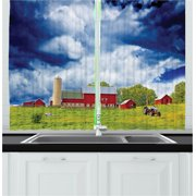 Country Curtains 2 Panels Set, Landscape Scenery View Warehouse Barn Clear Clouds Fields Photo, Window Drapes for Living Room Bedroom, 55W X 39L Inches, Blue White Red Aplle Green, by Ambesonne