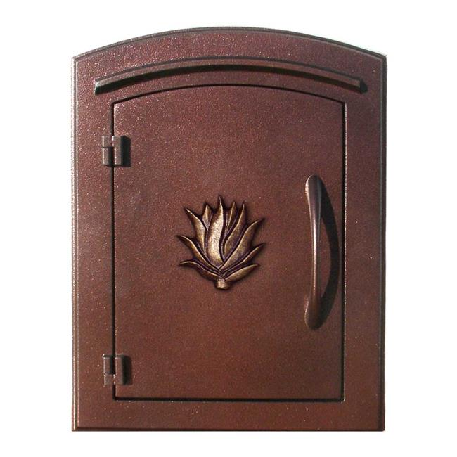 "Manchester Security Drop Chute Mailbox with ""Decorative AGAVE Logo"" Faceplate in Antique Copper"