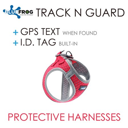 Dog Harness 1X Track N Guard GPS Message Ready & Built-In I.D. Tag (Fashionable Air Mesh, Reflective Piping & Fleece Trim design) Air Mesh Dog Harness