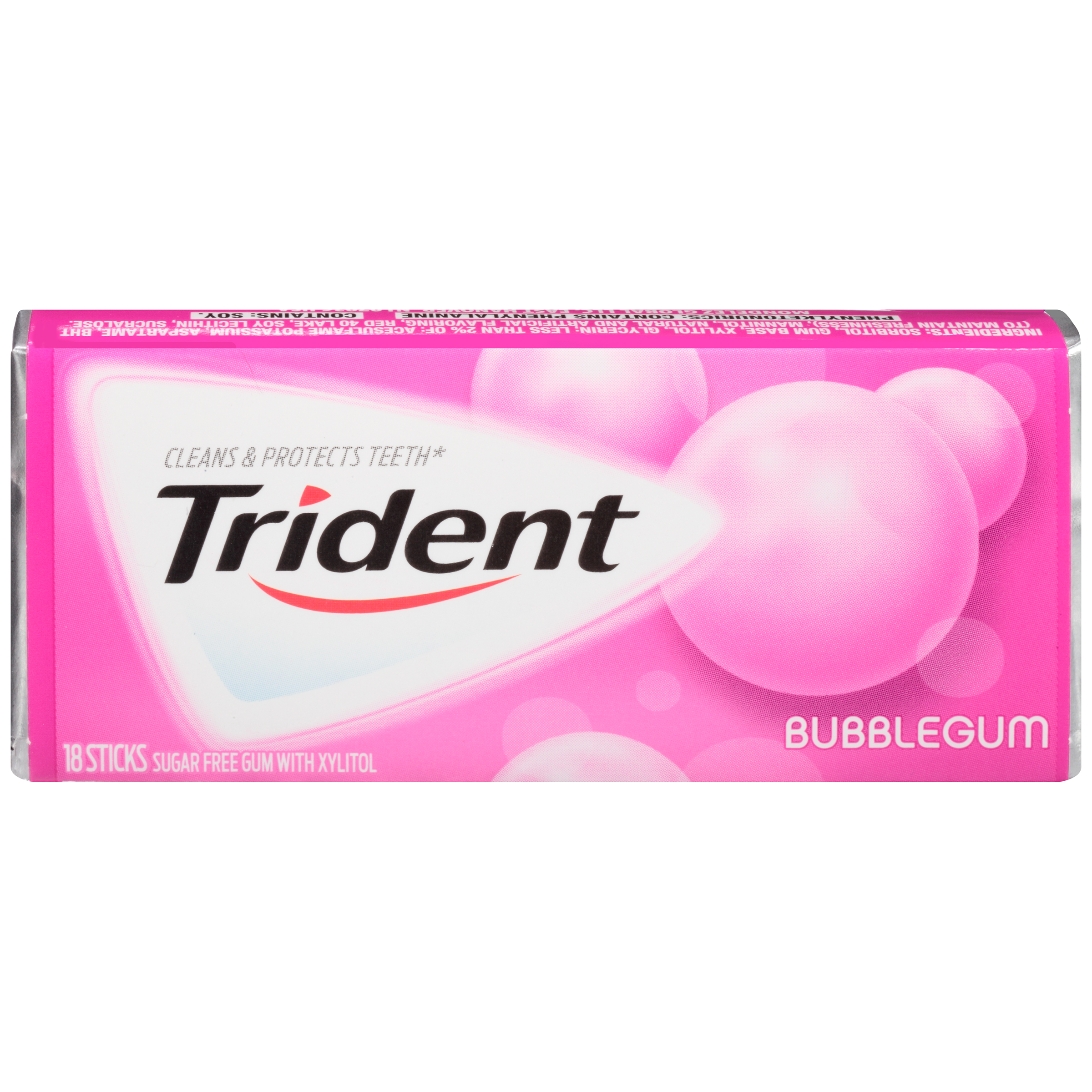 Trident Bubblegum Sugar Free Gum, 18 pieces