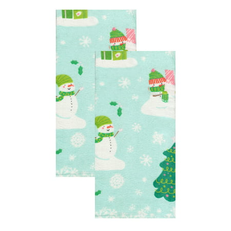 Kitchen Towels Snowman Christmas Tree Scene Set of 2